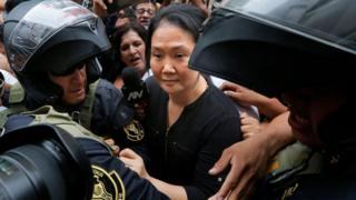 Peruvian politician Keiko Fujimori arrives to a courtroom in Lima