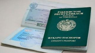 Ўзбекистон фуқароси паспорти ва чиқиш визаси стикери