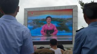7月29日,平壤一個廣場上的屏幕播放試射洲際導彈成功的新聞。
