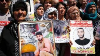 Filistinli mahkumlara destek gösterisi