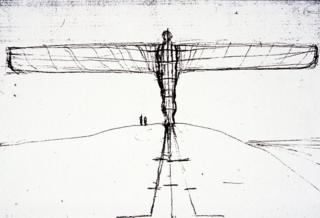 Antony Gormley sketch of the angel