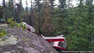 The wreckage of a de Havilland Beaver seaplane which crashed in Quebec