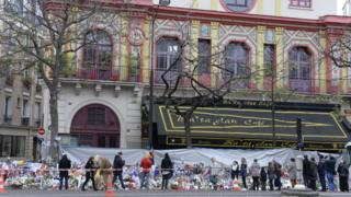 Flowers outside the Bataclan concert hall in Paris. 29 Nov 2015