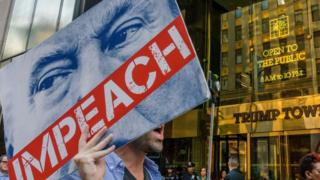 impeach sign outside trump tower