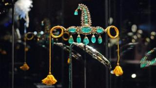 """Jewels on display at the """"Treasures of the Mughals and Maharajahs"""" Exhibition at Venice""""s Doge""""s Palace in Venice, Italy on 3 January 2018."""