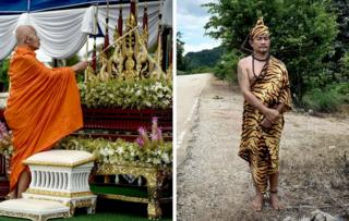 A monk lights a candle at an altar near the Tham Luang cave and a hermit performs a ritual