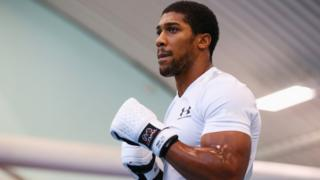 Anthony Joshua in the ring at the English Institute of Sport in Sheffield