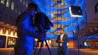 Amol Rajan outside BBC New Broadcasting House