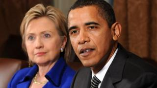 Hillary Clinton and Barack Obama in 2009