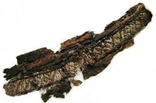 بقايا مكتشفة لنسيج من خيوط الحرير والفضة مكتشف في السويد