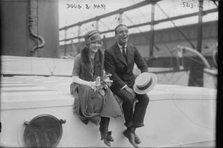 Fairbanks and Pickford on the Aquitania in 1920 on their honeymoon to Europe