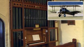 The organ and a Sopwith Camel (plane)