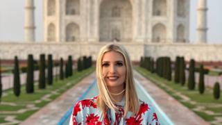 Ivanka Trump sits on the marble bench in front of the Taj Mahal alone during a visit to India last week