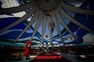 Inside view of Brasilia Cathedral before the start of the Palm Sunday mass