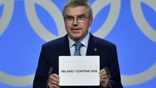 The joint Milan-Cortina bid is announced as the hosts of the 2026 Winter Olympics