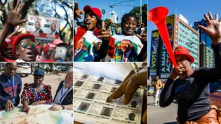 Top left: MDC supporters (Reuters). Top centre: Zanu-PF supporters (AFP). Left an MDC supporter with a vuvuzela by a large Zanu-PF electoral poster (AFP). Bottom left: EU election observers (AFP). Bottom centre: Voters' roll (AFP)