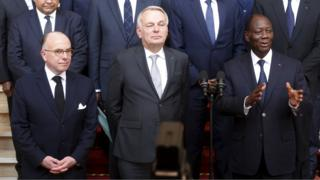 French Interior Minister Cazeneuve, French Foreign Minister Ayrault and Ivory Coast President Ouattara