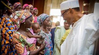 Shugaban Nigeria Muhammadu Buhari da 'yan matan Chibok