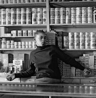 Shop assistant, Orlando West, Soweto, Johannesburg in 1977.