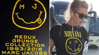 Jacobs' logo and Nirvana T-shirt worn by model Stella Maxwell