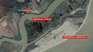 Map showing where a tribute to the lighthouse will be built closer to the village of Oford