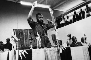 Lieutenant Colonel Okumegwu Ojukwu Eastern Nigeria's military Governor and chief of secessionist state of Biafra on war against the federal state of Nigeria, addressing a speech to Biafra parliament on July 16, 1967 in Biafra, Nigeria.