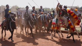 Men on horseback in Ambo in Ethiopia - Wednesday 11 April 2018