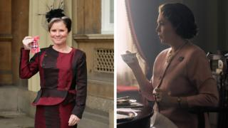 Imelda Staunton receiving her MBE and Olivia Colman in The Crown