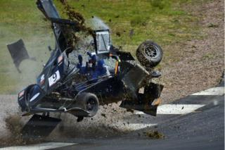 Ron Cumming in his Nemesis Kit-Car had a high-speed incident which ended much better than it could have. The driver is safe if not a little shaken up with some minor injuries relative to the size of the impacts. David Steele took this picture at Knockhill racetrack in Fife.