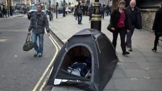 Homeless tent in middle of London city street