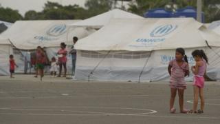Campo de refugiados en Ecuador.
