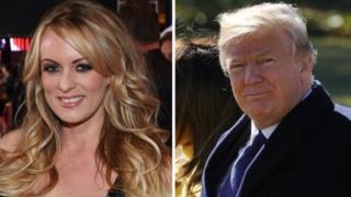Montagem de fotos com Trump e Stormy Daniels