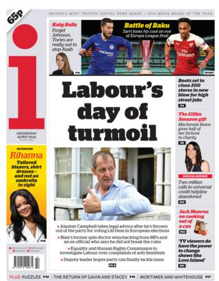 Wednesday's i front page