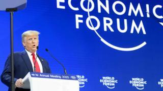 President Trump at Davos podium