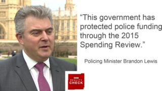 """This government has protected police funding through the 2015 Spending Review""- Policing Minister Brandon Lewis"