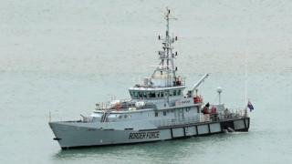 HMC Searcher, one of four cutter ships patrolling UK waters, at the Port of Dover in Kent