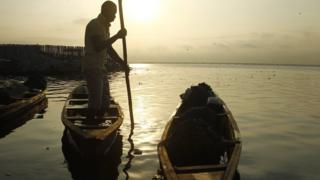 A fisherman at sunrise in Abidjan, Ivory Coast - Friday 2 September 2016
