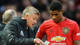 Manchester United manager Ole Gunnar Solskjaer and striker Marcus Rashford