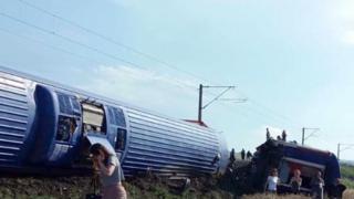 A derailed train in Bulgaria