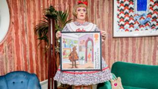Grayson Perry with his stamp