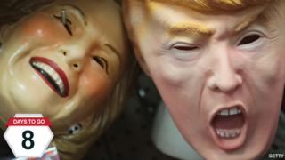 Masks depicting Donald Trump and Hillary Clinton at a costume shop in Chicago, Illinois - 19 October 2016