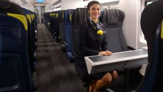 Eurostar crew member in the new e320 Eurostar train