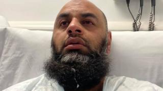 Noor Dahri in hospital bed