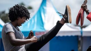 Woman dey do taekwondo for Kenya