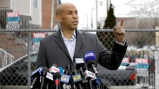 Cory Booker speaks to the press after his announcement