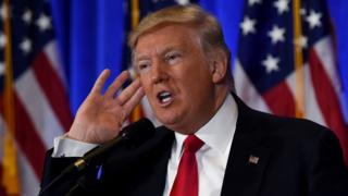Donald Trump speaks to media