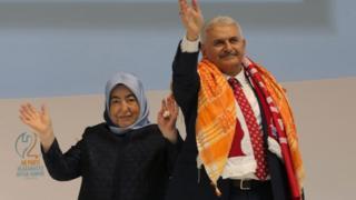 Binali Yildirim and his wife Semiha at the AKP congress in Ankara, 22 May