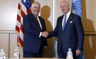 Mr Tillerson met with UN Syria envoy Steffan de Mistura in October