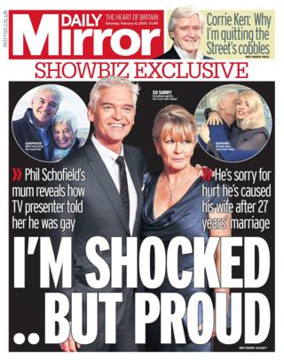 Saturday's Daily Mirror front page
