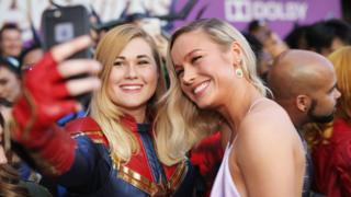Brie Larson and fan at the Avengers: Endgame premiere